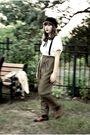 Beige-banana-republic-coat-black-urban-outfitters-hat-brown-vintage-pants-