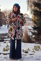 cream tapestry vintage coat - navy wide leg Gap jeans