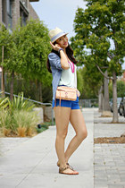 blue H&M shirt - peach Rebecca Minkoff bag