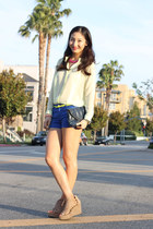 lime green chiffon shirt H&M shirt - blue short H&M shorts