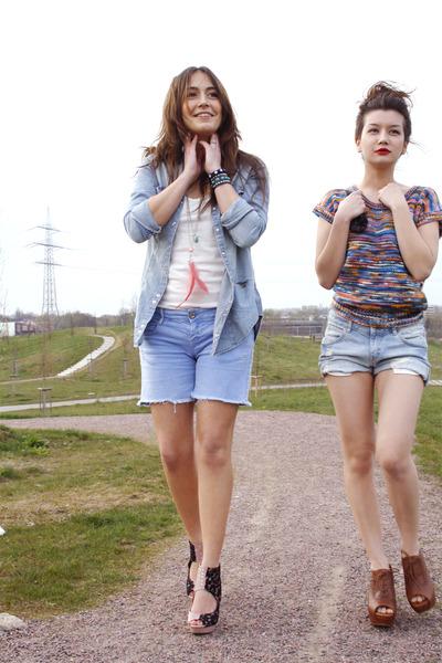 blue H&M jeans - purple H&M shirt - brown Zara shoes - blue H&M shirt - white H&