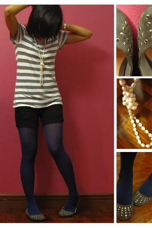 white shirt - black shorts - blue tights - white necklace
