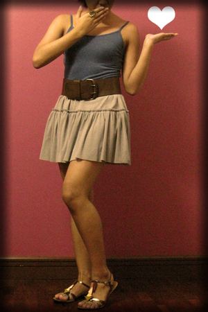 blue top - gray skirt - brown belt - gold accessories