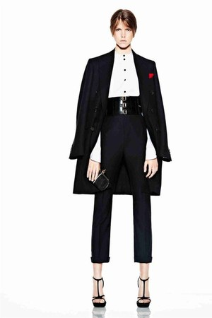 black Alexander McQueen coat - belt - black pants - top - black heels