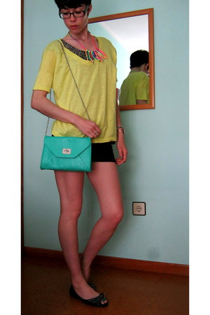 hot pink diy DIY necklace - turquoise blue mint green Stradivarius bag