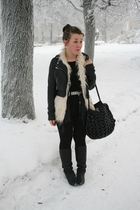 beige Only vest - black Friis&Co purse - black h&m divided jacket