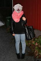blue pieces jeans - black Forever21 shoes - pink GinaTricot scarf