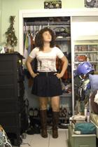 H81 t-shirt - f21 skirt - boots