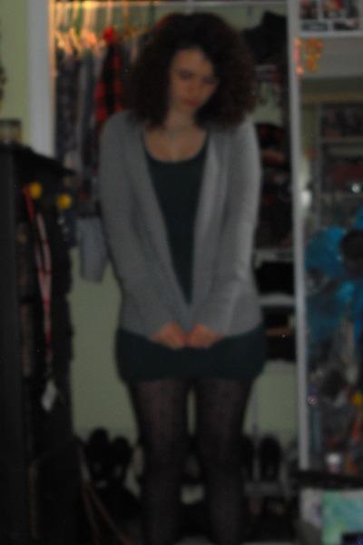 green dress - gray cardigan - purple tights