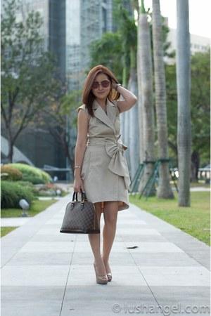 RAF Plains & Prints dress - alma damier Louis Vuitton bag - vintage christian di