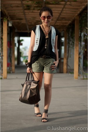 mens cotton random shirt - metallic bronze longchamp bag - army green cotton on
