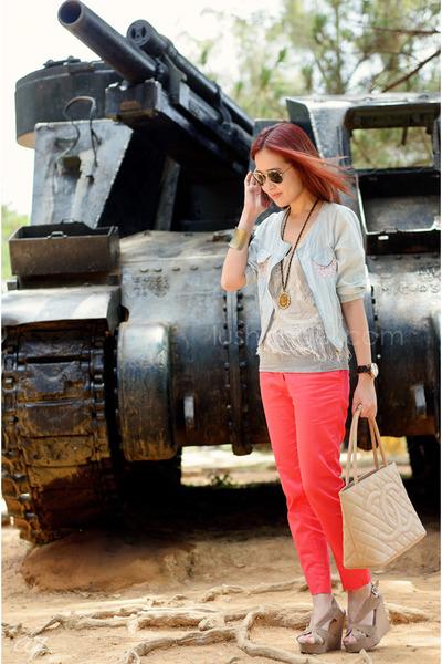 fringed H&M top - Chanel bag - Ray Ban sunglasses - H&M pants