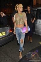 metallic crop top - distressed jeans - metallic Stella McCartney purse
