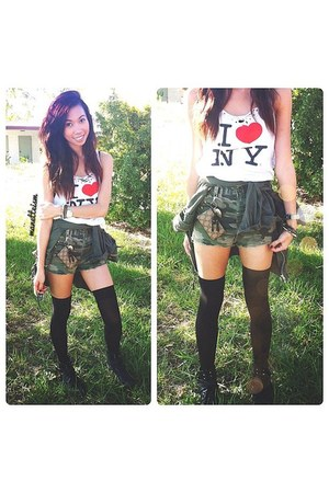 camo shorts - graphic tee shirt - knee high socks socks