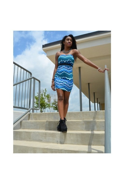 black suede Forever 21 boots - blue tribal Charlotte Russe dress