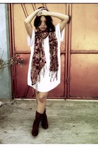 scarf - boots - dress - accessories