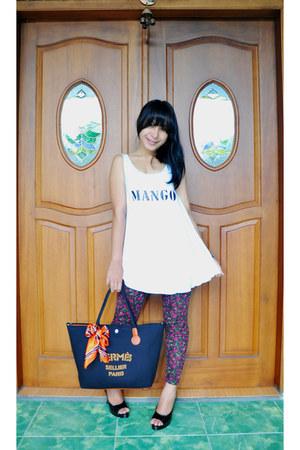 leggings - Hermes bag - Zara heels - Mango top
