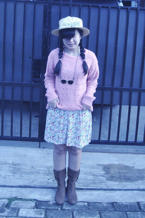 bubble gum sweater - brown boots - dress - black accessories
