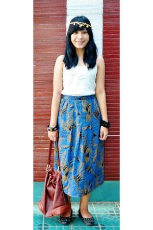 Louis Vuitton bag - top - Marie Claire flats - skirt - accessories