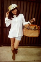 Hermes bag - boots - H&M shirt - shorts - accessories