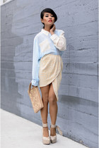 sequin skirt virgos lounge skirt - pony clutch asos bag - Chicwish blouse