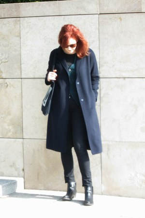 navy Zara coat - forest green cardigan