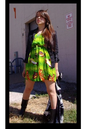 dark gray rubber vintage boots - chartreuse fishy vintage dress - dark gray vint