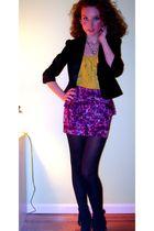 black bare necessities stockings - purple Forever 21 skirt - green Forever 21 sh