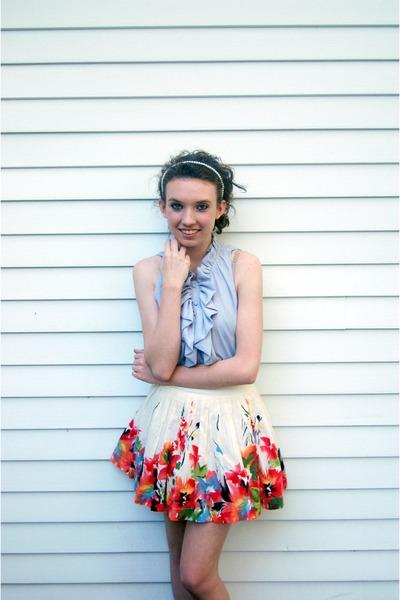 blue Forever 21 shirt - white floral print Forever 21 skirt