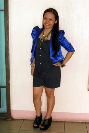 blue satin studded blazer - brown layered Forever 21 necklace - black wedges - b