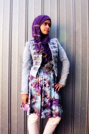 ICE dress - Just jeans jacket - unknown scarf - DIva Equip accessories - Valleyg
