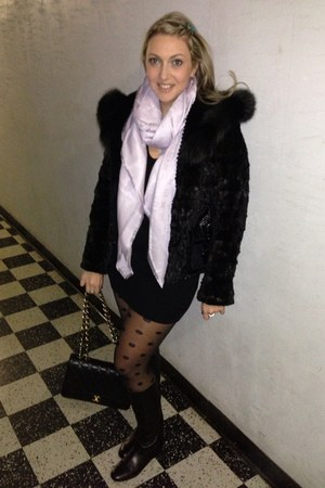 Tahari boots - hm dress - Louis Vuitton scarf - Chanel bag
