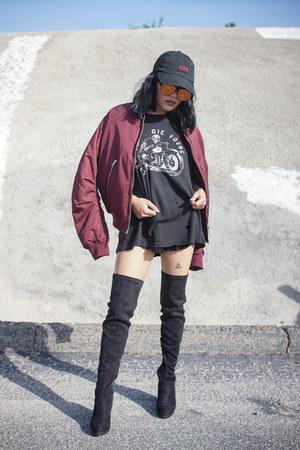 brandy melville t-shirt - windsor boots - 424 hat - bomber Topshop jacket