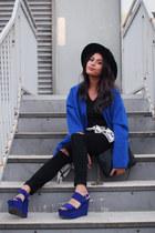 blue Forever 21 coat - black Forever 21 jeans - black felt fedora H&M hat
