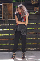red paisley bandana Zara scarf - black leather strap JCPenney SM Pixi sandals