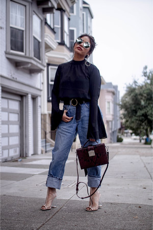 Loneluster top - Public desire boots - Tommy Hilfiger jeans - Zara bag