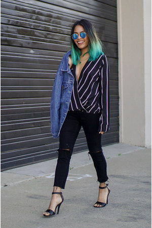 blue denim The Fifth jacket - black Forever 21 jeans - blue zeroUV sunglasses