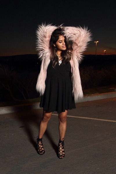 light pink faux fur Urban Outfitters coat