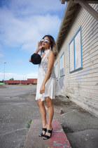 black faux fur clutch Forever 21 bag - white lace shift Sheinside dress