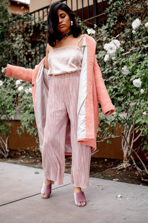 pink pleated Zara pants - bubble gum wool Topshop coat