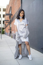 silver silk shift Simple Retro dress - heather gray knit Forever 21 cardigan