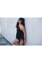 black Le Style Closet shorts - black chiffon black Urban Outfitters top
