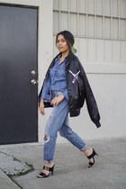 black satin bomber ChiFlo jacket - blue Forever 21 jeans - blue Nordstrom top