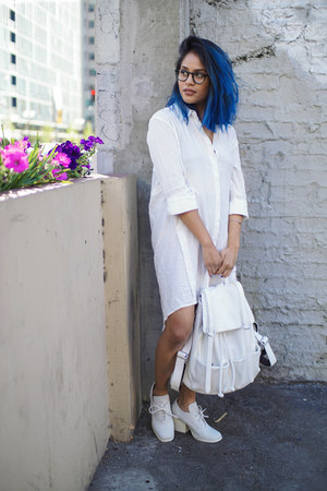 white sheer shirt Harper Trends dress - white Mellow World bag
