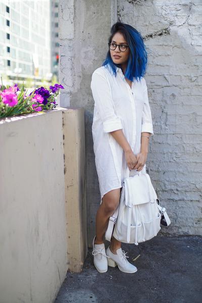 white sheer shirt Harper Trends dress - white Mellow World bag