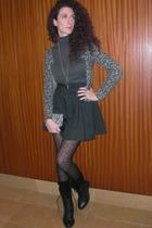 gray cardigan - gray sweater - black skirt - black panties - black purse - black