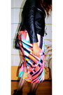 Black-zara-boots-hot-pink-made-by-me-lolu-dress-black-leather-boutique-jacke