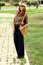 bronze Zara boots - brown Zara shirt - bronze boutique bag - navy Exotik pants -