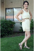 light yellow umbrellas Club Couture dress - brown Guess sandals - brown threadse