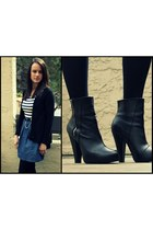 black H&M boots - navy Forever 21 dress - black Target cardigan